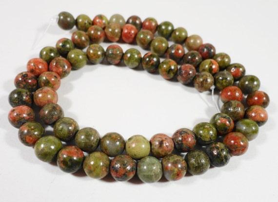 """6mm Unakite Beads, Full Strand Terracotta Red and Green Gemstone Beads, 6mm Round Unakite, Natural Stone Ball Beads 15"""" Strand with 60 Beads"""