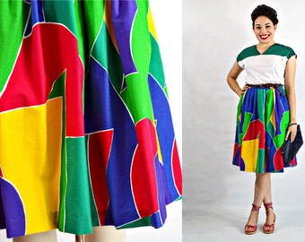 VTG- 80s, Vintage, Abstract Rainbow, Color block, 1980s/1990s, Knee-length, Gathered Waist, Skirt w Pockets  - Size S Small