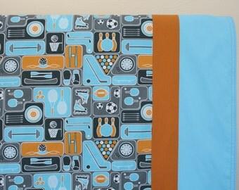 Organic Baby Blanket, Receiving Blanket, Stroller Blanket, Toddler Blanket, Sports, Blue, Baby Boy