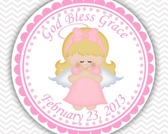 Kneeling Angel Girl Pink Baptism Christening First Holy Communion - Personalized Stickers, Party Favor Tags, Thank You Tags, Gift Tags