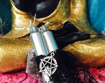 Silver candles, spell candles, ritual candle, invocation candles