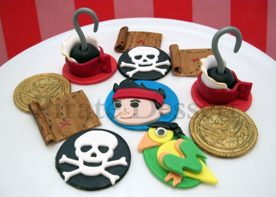 Edible Cupcake Toppers JAKE and The NEVERLAND Pirates- Fondant cake decorations Jake and the Neverland Pirates Cupcakes- (12 pieces)