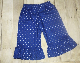 Royal Blue Dot  ruffle shorts, capris, or pants sz 12m, 18m, 24m/ 2, 3,4,5,6,7,8
