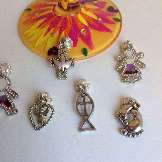 6 WINE CHARMS - Magnetic Wine Charms - Baptism, Christening, Baby Shower, New Baby, Confirmation Wine Charms