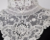 Gorgeous Vintage Lace Collar, Ladies Blouse or Dress Collar, Cream Lace Collar, Victorian, Edwardian Lace Collar, Sz Small, Downton Abbey