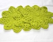 Round Dishcloths - Crocheted Dish Cloths Set of 3 - Florescent Green