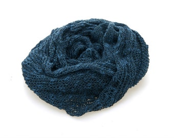 Hand knitted Royal blue scarf