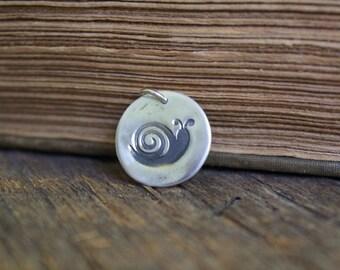 Silver Snail Charm, Silver Snail Pendant, Fine Silver Snail