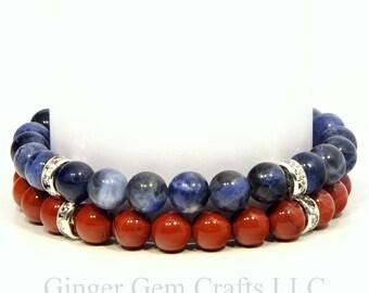 Sodalite bracelet, red jasper bracelet, gemstone bracelet set, beaded bracelet set, womens bracelets, handmade bracelets, gemstone jewelry