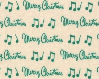 Moda-Dear Mr. Claus by Cosmo Cricket Script 37036-23 Eggnog Green by the Yard