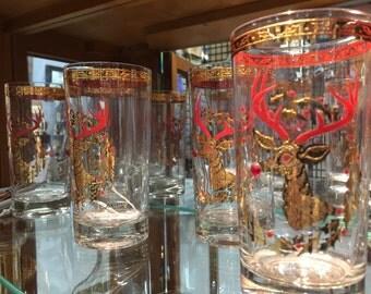 Vintage Mid Century Modern Culver 22k Jeweled Reindeer Glassware