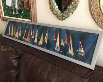 Vintage Painting Artist Fred Roner, American MCM Large Nautical Painting Decor
