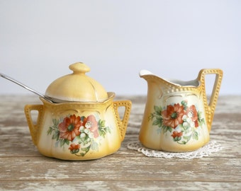Vintage Austrian Cream and Sugar, Hand Painted Cream and Sugar Set, Gold with Rust Colored Flowers, Autumn Table Decor, Farmhouse Kitchen