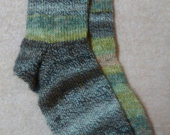 Green and brown, woodland, stripey toe cuddling Sassi socks