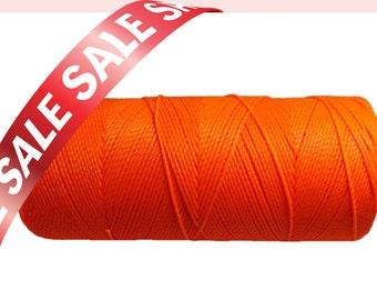 Macrame Cord, Waxed Polyester Cord, Fluorescent Craft Thread, Braided Bracelet Cord - Neon Orange