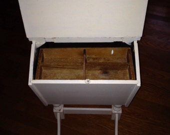 WOOD SEWING STAND Box Cottage White Country Farmhouse Hinged Lids