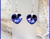 Swarovski Elements Austrian Crystal Heliotrope Heart Dangle Earrings Purple, Pink, Blue