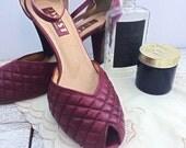ON SALE Vintage 9west Burgundy Leather Peep Toe Heels, Size 7
