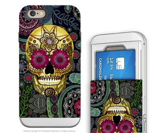 iPhone 6 6s Cardholder Case with Colorful Skull Artwork - Sugar Skull Paisley Garden - Credit Card Apple iPhone 6s Case with Rubber Sides