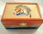 Orange and Blue Stained Maple Wood Woodburned Broncos Football Inspired Keepsake Box, Jewelry Box or Memory Box