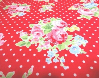 SALE Japanese Fabric LECIEN Flower Sugar Bouquet Red Dots  FQ