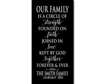 Our family is a circle of strength founded on faith joined in love - Personalized Inspirational Canvas - Wedding, Anniversary, Housewarming