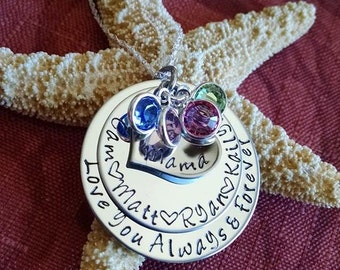 Mothers Jewelry Personalized Mothers Day Gift Love You Always and Forever Personalized Necklace Hand Stamped Mother's Necklace