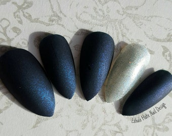 Matte Shimmery Navy and Silver - Glue on Nails - Press Ons - Fake Nails - Stiletto, Oval, Square, Coffin, Almond