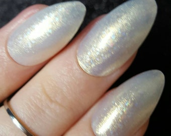 Moon Princess x White Gold Opal Gel Press on Fake Nails - Stiletto, Coffin/Ballerina, Oval, Square