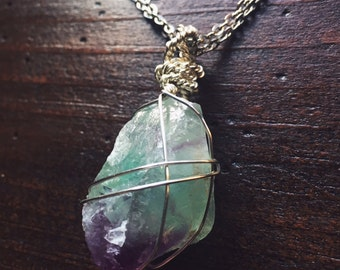 Gorgeous Giant Green and Purple Raw Fluorite - Energy Protection, Intuition and Block Busting Necklace - Reiki Infused