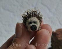 Needle felted hedgehog, miniature hedgehog, soft sculpture, felting animal, wool hedgehog plush toy