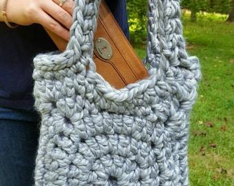 Chunky Handbag, crochet handbag, tote, hobo bag, grey, granny square tote