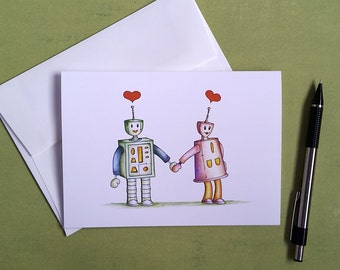 Robot Card, Wedding Card, Engagement Robots, Gift for Him, Gift for Her, Anniversary Card, Gifts for Robot Lovers, Blank Greeting Card