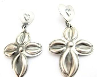 SALE Navajo Cross and Heart Earrings