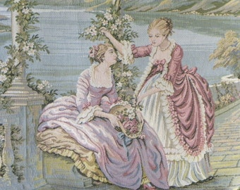 Aubusson Pillows Baroque Rococo Large Over Sized Tapestry Pillows, Paris Apartment, Marie Antoinette, 1600's, Italian Tapestry Pillows