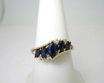 14K Vintage .56 Off Set Natural SAPPHIRE & DIAMOND Ring BAND Size 7.25 7 1/4 R1294