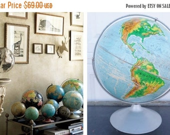 """ON SALE 1966, Nystrom, 16"""", Pictorial Relief, World Globe, Large, School, Classroom, World, Globe, Vintage, Collectibles, Mid Century Modern"""