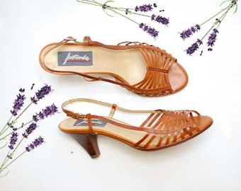 Vintage 70s Brown Leather Sandals / Slingback Slip-on Summer Sandals / Size 8.5 N