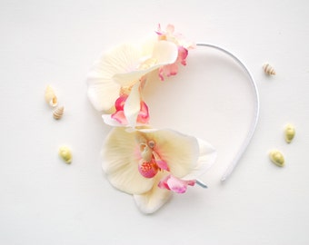 Ivory Pink Orchids Bridal Headband, Beach Weddings Mermaid Hair Accessories, Bridal Orchids Hair Piece Headband, Beach Hawaiian Wedding