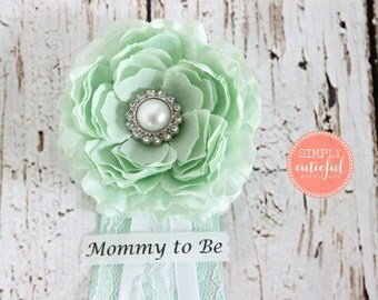 Mint Shower Corsage. Mommy to Be Corsage Ribbon Badge Grandma to Be Mint Color Baby Shower
