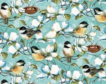 Feather Your Nest Fabric with Chickadees Dogwood Yardage
