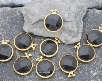 10     black onyx pendant 26mm faceted matte gold bezel charm high quality jewellery turkish supplies wholesale bulk MDLA315