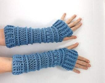 ON SALE Crochet Chunky Fingerless Armwarmers Gloves Mittens // The Lenolas // in Bluebell