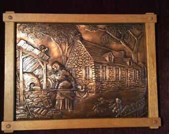 Copper Relief Farm Scene Fait Au Quebec  Mid Century