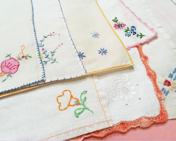 Floral Embroidered Vintage Dessert Napkins,Set of 8