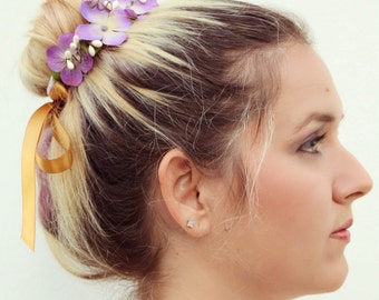The Lyla Bun Belt | violet floral crown for your hair bun | floral wreath | purple hair bun accessories | flower crown