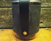 16oz Wanderer Mug in Charcoal with Black Leather Bridle Handle