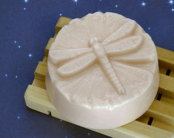 Rose Goats Milk Soap-Handmade 3.7 Oz Round Bar-Dragonfly Alight-Spirals on Wings-