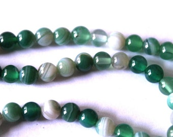 6 mm Green and White Striped Agate Beads