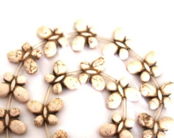 White Magnesite Butterfly Beads